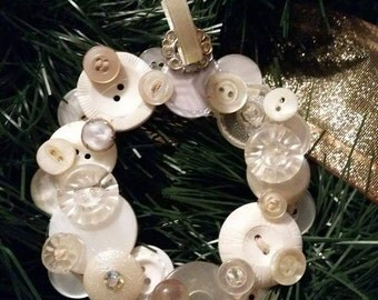Wreath Ornament featuring vintage buttons
