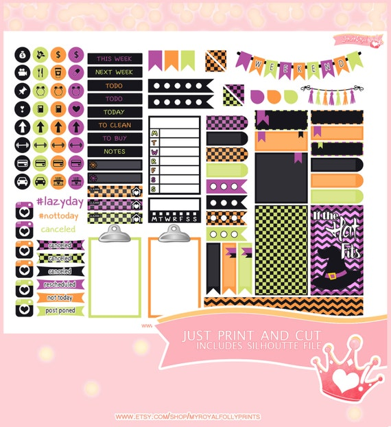 Halloween Witches | Printable Planner Stickers | Happy Planner | Instant Digital Download with Silhouette file