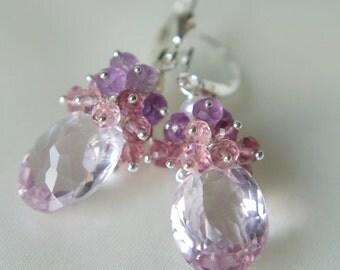 Amethyst Topaz dream earrings Sterling Silver 925