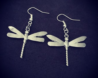 Sparkly silver dragonfly earrings