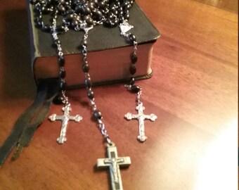 Three Vintage Ebony Rosaries