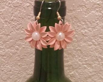 Dainty Pink Flower Earrings