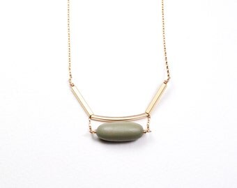 Suspended Bead and Gold Geo Curve Necklace    THE NAVE