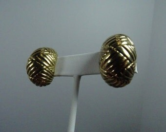 Estate Sterling Silver Basket Weave Earrings with Gold Wash