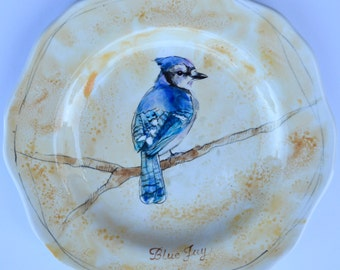 Blue Jay ceramic plate