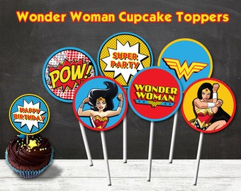 Wonder Woman Cupcake Toppers, Wonder Woman Party, Wonder Woman Printable Toppers
