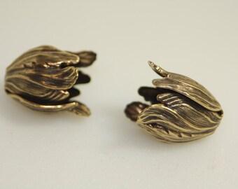 Bead Caps or Cones, Antique Brass, Vintage Stlye,  2 PCS