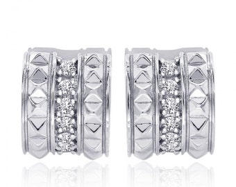 0.30 Carat Diamond Spike Hoop Earrings 14K White Gold
