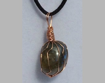 Labradorite Pendant, Handmade, Wire Wrapped Crystal (Copper Wire #1)