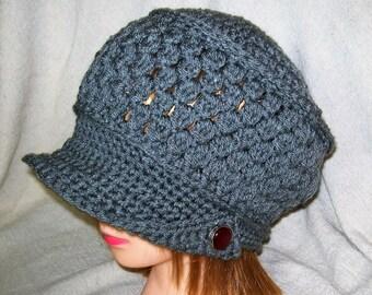 Crochet Newsboy Hat Gray
