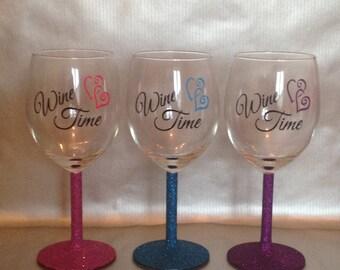 Wine Time Vinyl/Glitter Glass