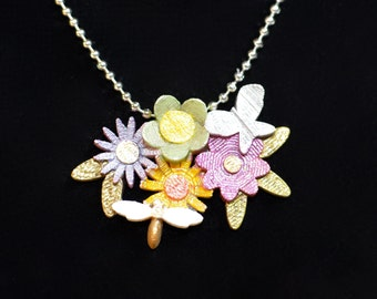 Spring Flowers necklace, Butterfly necklace, Bee necklace,