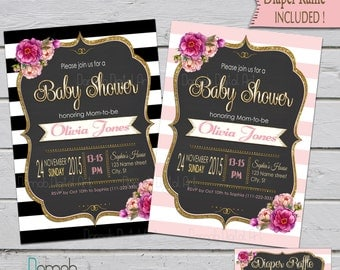 Baby Shower invitation girl, Girl Baby Shower, Pink and Gold Baby Shower invitation, Black stripe invitation, Baby Shower Girl, floral, gold