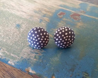 Handmade black and white 15mm poka dot earrings