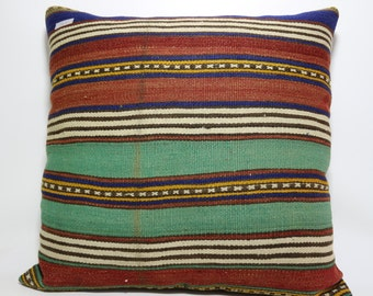 Turkish Striped Kilim Pillow Kilim Cushion Case Multicolour Kilim Pillow 28x28 Floor Pillow Turkish Kilim Pillow bohemian pillow SP7070-243