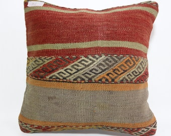 16x16 red grey pillow embroidered kilim pillow cushion cover throw pillow floor pillow natural pillow turkish