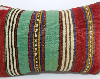 Turkish Striped Kilim Pillow 16x24 boho lumbar kilim pillow Striped Pillow Cushion cover Multicolour pillow Antique Pillow SP4060-252