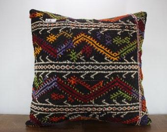 "Kilim Pillow 24""x24"" Large Size Pillow -Kilim Pillow Cover - Decorative Pillow - Embroidered Designs Vintage Turkish Kilim Pillow Cases"