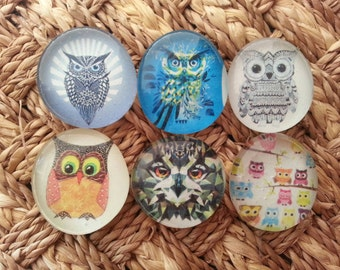 Owl magnets handmade glass