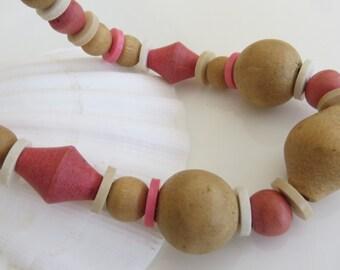 Light Wood Bead Necklace