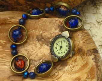 Time With You - wrist watch made with semi-precious stones (lapis lazuli) and Swarovski crystals