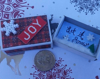 Christmas Matchbox Diorama, miniature Christmas scene, Joy matchbox mixed media art, miniature snowman, Let It Snow mini Christmas decor