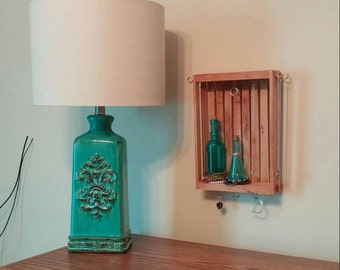 Wood jewelry organizer, hanging crate jewelry holder, turquoise and wood jewelry display, home organization,