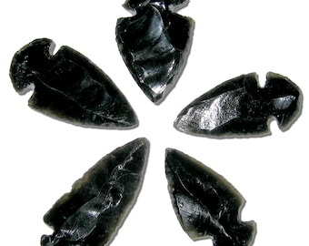 5 Obsidian Arrowheads Hand Crafted Black Stone Arrow Heads Randomly Selected FREE USA SHIPPING!