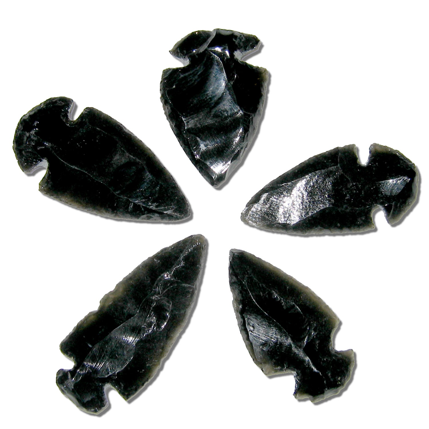 5 obsidian arrowheads hand crafted black stone arrow heads