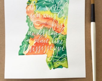Custom watercolor, any state and any quote!
