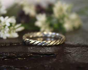 925 Sterling Silver ring, Simple Twisted infinity, Boho Stack ring, Band Ring