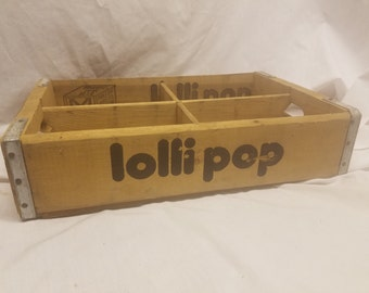 Vintage Lolli pop soda case crate with divider