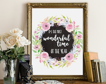 Christmas printable art, wall art decoration it's the most wonderful, hand lettered Christmas wall art holiday printable decor,