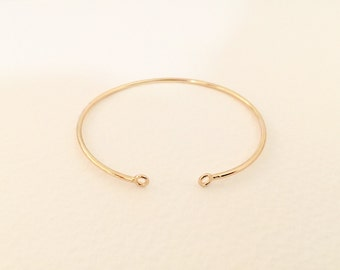 Bangle Bracelet with 2 clips 1.50 mm champagne colored for jewellery creations