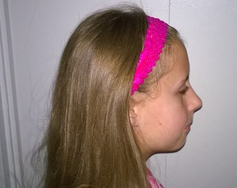 Girls Sequin Headbands Hot Pink