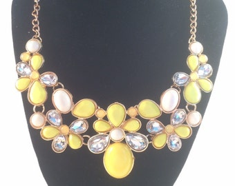 Yellow Flower Pattern Statement Necklace