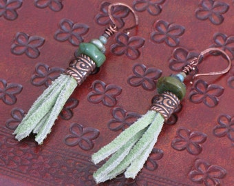 Suede Copper Turquoise dangle earrings