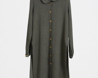 Dark Olive Green Full-Length Jacket, Stretch Cotton