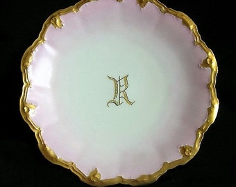 "Limoges Monogrammed Plate Letter ""R"" Artist Signed 1900's-Was 88.50 Now 68.50"