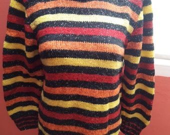 Women Multicolor Handmade Knitted Polo Pullover