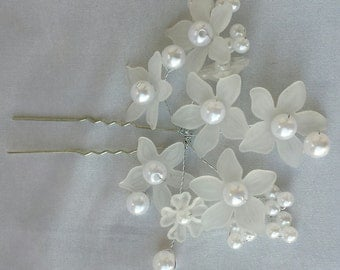 White Bridal Hair Pins White Pearl Wedding Hairpins Wedding Hair Pins Accessories Pearl Hair Pins Bridal Hair Pearl Bridal Accessories
