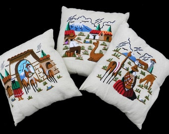 3 Vintage Embroidered Pillows Accent Cushions Mid Century price shown is for all three