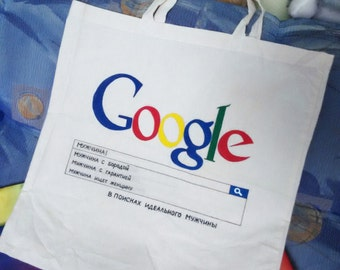 Google searching for man bag/Personalized inscription/Eco bag/Shopping bag/Handpainted google search bag