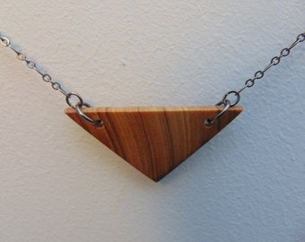 Triangle Olivewood Pendant Necklace #2