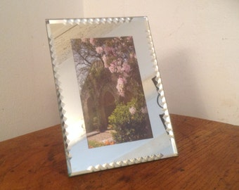 Small 1940's mirrored glass photo frame