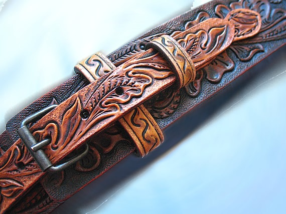 Dog collar hand tooled carved western sheridan skull
