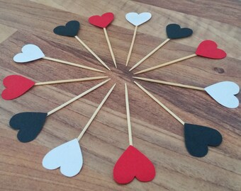 Heart cupcake toppers, 24 red, black and white cupcake toppers, Queen of hearts, cake topper birthday, Engagement topper