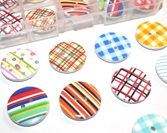 Assorted wooden buttons 25 mm box 24 units buttons different colors, clothing accessories, crafts, fashion vintage jackets, wood eco-friendly