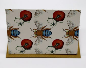 Blue-Banded Bee and Tomato Cards x 4
