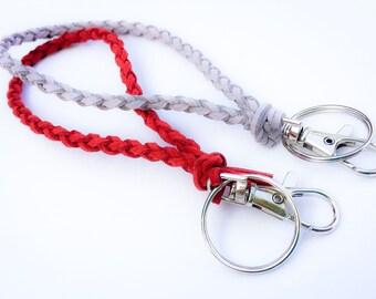 Faux Suede Braided Wristlet Keychain